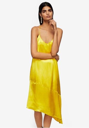 Mango yellow Asymmetrical Satin Dress B2FD0AAB12A5CAGS_1