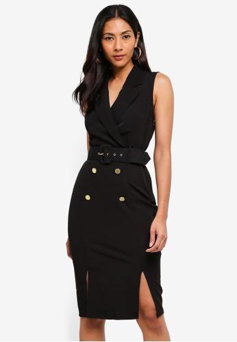 Lipsy black V Neck Double Split Tux Midi Dress A5DD4AA0BA1C81GS_1