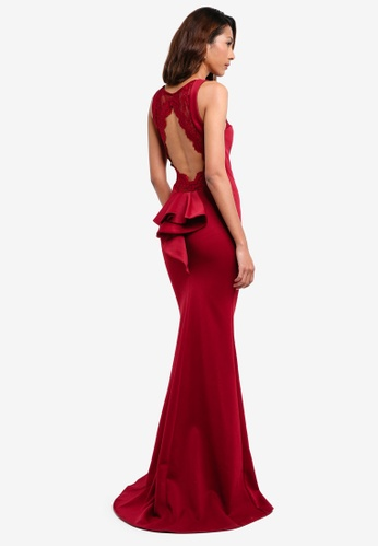 Goddiva red Open Back Lace Maxi Dress With Frill Detail 3B1AAAAE2A0679GS_1