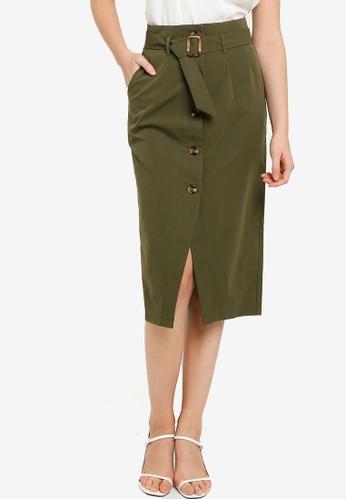 ZALORA WORK green Button Down Skirt With Belt AA083AACE5B07DGS_1