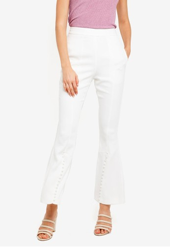 Lavish Alice white Button Detail Bell Bottom Trousers 1CCB9AA47D7460GS_1