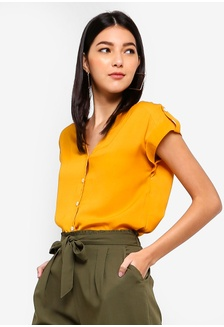 d579e62c3d4fc8 Button Detail Folded Sleeves Top 1AF8CAADEFE436GS 1