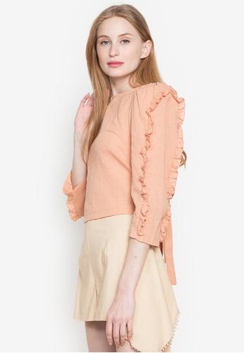 Andi + Olivia beige Ruffled Sleeve Top 12E54AA7EB4E48GS_1