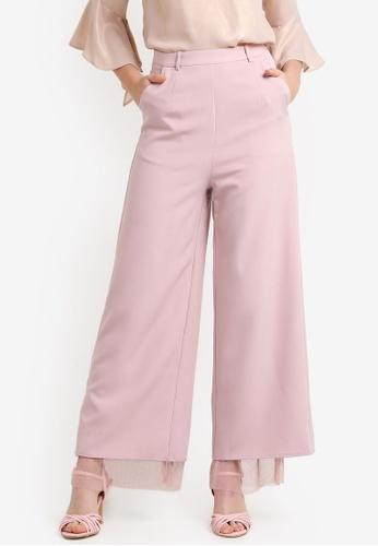 Zalia pink Pleated Mesh Layer Palazzo Pants FA1C5ZZ6BB2C4AGS_1