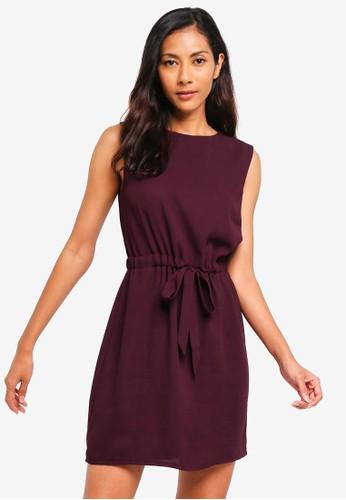 ZALORA BASICS purple Basic Sleeveless Waist Tie Dress 609BCAA0ACA06CGS_1