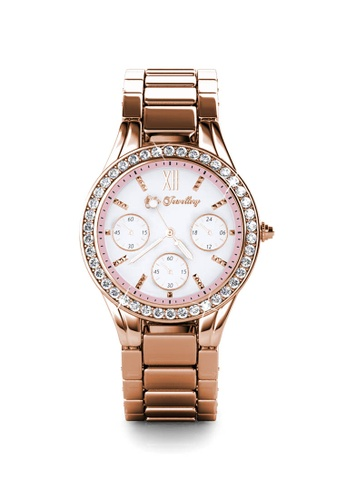 Her Jewellery gold Pinkc Watch (Rose Gold, Pink) - Made with premium grade crystals from Austria 6E863AC223FE17GS_1