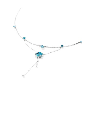 Glamorousky blue Flower Anklet with Blue Austrian Element Crystals 9EFEEAC24B0466GS_1