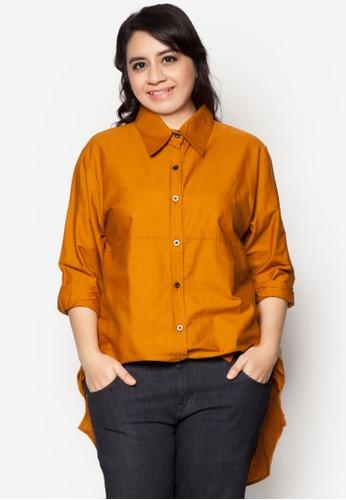 92e4e544afd Kasih brown Plus Size Fishtail Cotton Shirt KA360AA80VDNMY 1