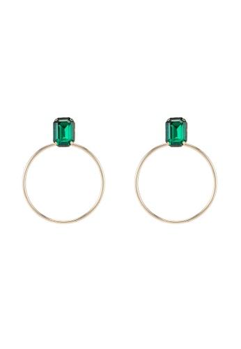 ALDO 綠色 鑽飾圓圈耳環 D4C46AC231860CGS_1