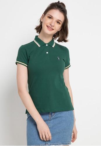 Giordano green Classic Women Embroidery Polo CF747AA7CF959CGS_1