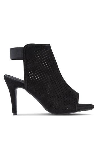 Peforated Peep Toe Bootie Heels