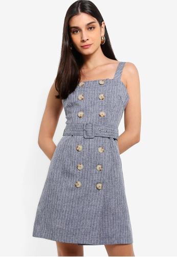 ZALORA 海軍藍色 Button Detailed Dress 61DA3AA089A144GS_1