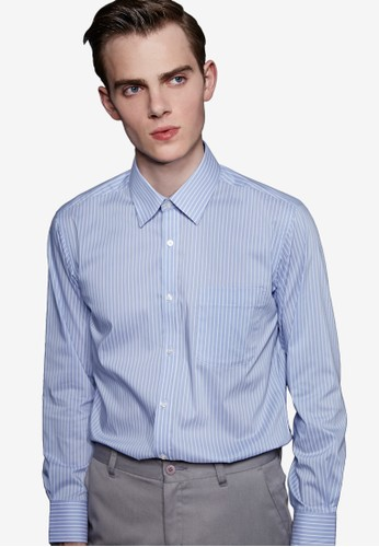 簡約都會。立體版型。條紋精紡商務襯衫-MIT-1esprit 衣服1004-水藍條, 服飾, 商務襯衫