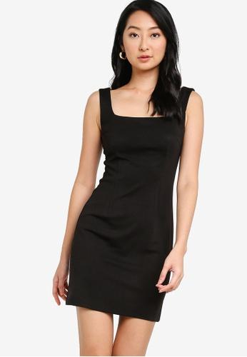 ZALORA BASICS black Square Neck Bodycon Dress E82CEAAB091628GS_1