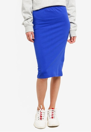 Brave Soul blue Plain Pencil Skirt 91F60AAA0E620AGS_1