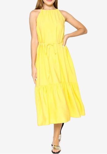 Banana Republic yellow Sleeveless Halter Midi Tiered Dress E827CAA2338D05GS_1