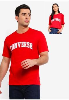33ee10640be Converse red Converse All Star Collegiate Text Short Sleeve Tee  B4933AA9D5EBF6GS 1