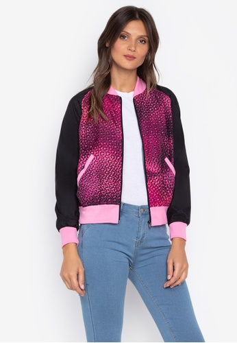 Courier pink Printed Ladies Bomber Jacket 8F856AA6632773GS_1