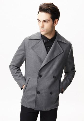 雅致商務。翻領雙排釦毛呢大衣-11095-灰色, 服飾salon esprit 香港, 休閒西裝外套