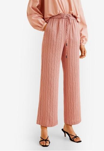 Mango pink Stripes Printed Trousers 3E240AA0D9DE53GS_1