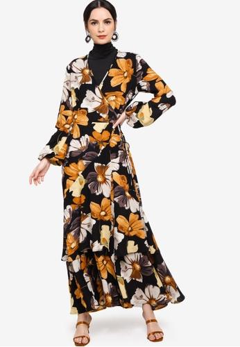 Zalia black Front Wrap Frilled Dress 8E3C5AA73F7302GS_1
