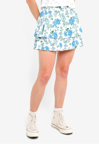 TOPSHOP white Bluebell Shirred Mini Skirt 8863AAA199EE6BGS_1