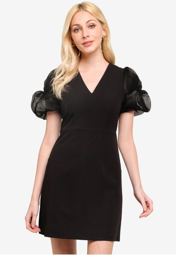 URBAN REVIVO black Puff Dress 32AA1AA5E9B248GS_1