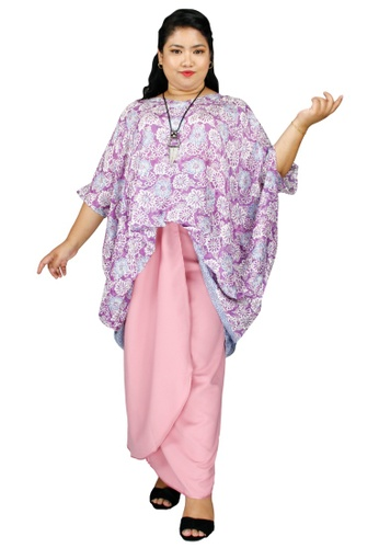 PANGOI pink and lilac purple PANGOI RAYA  Plus Size/ Free Size 3D Fashion Kaftan Viscose Batik with Silk Pareo Set - Purple Pink 13B65AAA996414GS_1
