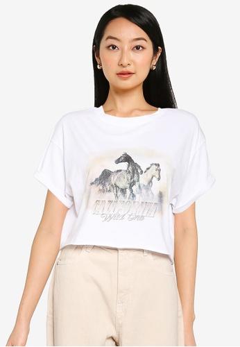 Supre white Tamara Printed Crop T Shirt 3D8E7AA5BFBC3CGS_1
