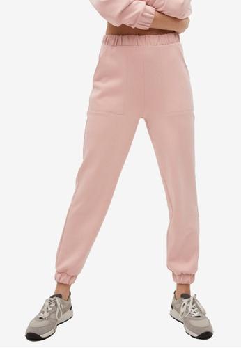 Mango pink Elastic Waist Trousers 0E23FAA65AFB8DGS_1