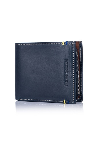 ENZODESIGN brown and multi and navy New Design Italian Leather Wallet with Zip Coin Compartment EN357AC0GI26SG_1