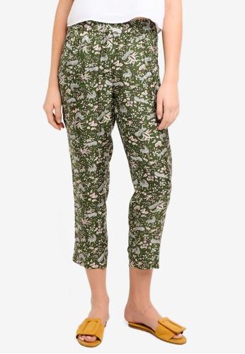 J.Crew green Printed Silk Twill Easy Pants A447BAA9A8E4A8GS_1
