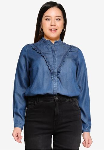 Vero Moda blue Plus Size Lund Shirt 37446AAAE6D720GS_1