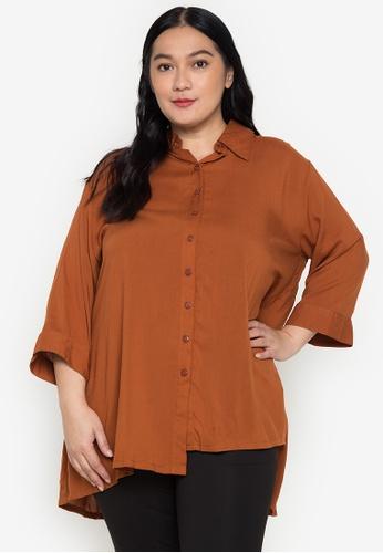 Maxine orange Plus Size 3/4 Sleeves Challis Tunic Shirt 711BDAA2DB01F6GS_1