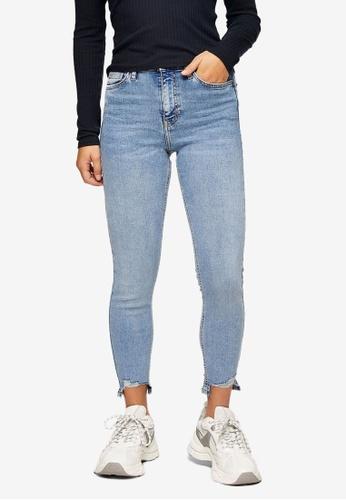 TOPSHOP blue Petite Bleach Jagged Hem Jamie Skinny Jeans 43468AAA294192GS_1