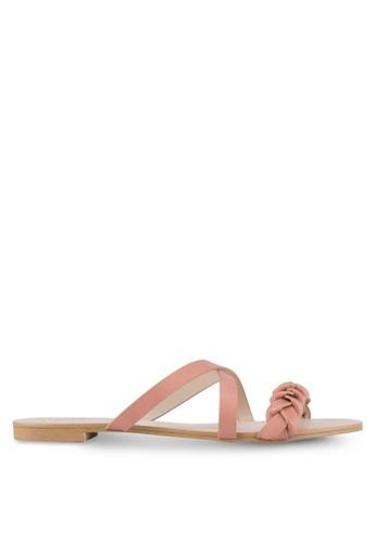 Velvet pink Braided Flat Sandals D056DSH966BFDAGS_1