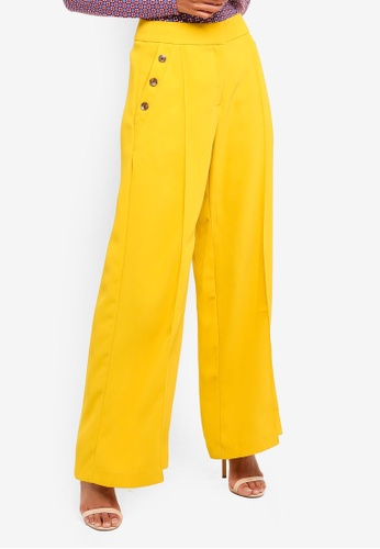 River Island yellow Zach Button Detail Wide Leg Trousers 28D29AA76C5B1BGS_1