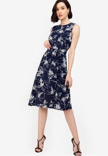 ZALORA WORK multi Sleeveless Dress With Slits B4ADEAA46C31F8GS_1