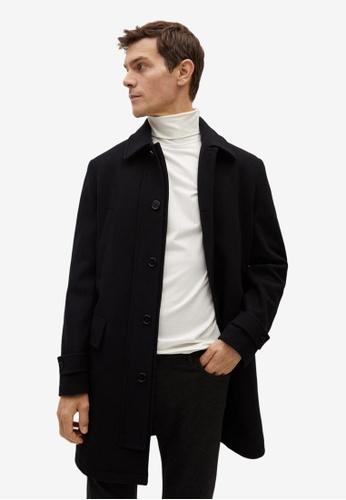 Mango Man black Long Recycled Wool Coat D83F2AA8E3E951GS_1