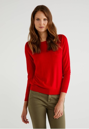 United Colors of Benetton red Boat Neck sweater F6EECAA0DB63AFGS_1