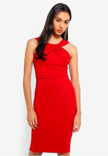 Goddiva red Pleated Neckline Midi Dress CAFFBAA76A8995GS_1