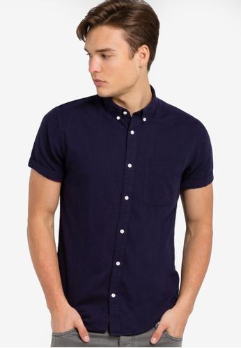 Electro Denim Lab blue Dobby Slim Short Sleeve Shirt EL966AA77NJEMY_1