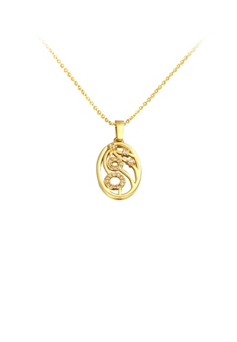 Glamorousky white Fashion Plated Gold Oval Pattern Pendant with Austrian Element Crystal and Necklace FA403AC6D5BE90GS_1