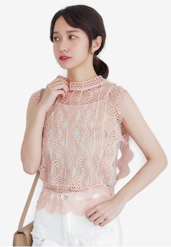 Shopsfashion pink Sleeveless Blouse F70BEAA8E14E25GS_1