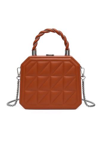 Lara brown Women's Elegant Embossed Wear-resistant Leather Chain Bag - Brown DB2C2AC3324B42GS_1