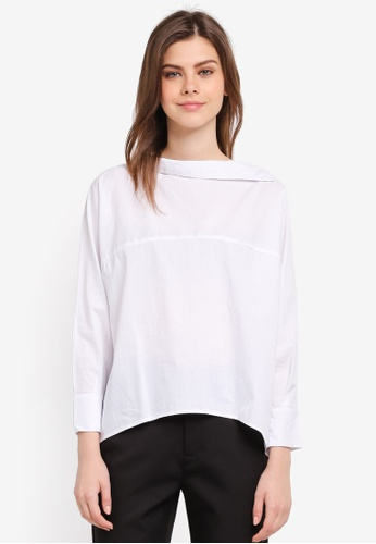 Zalia white Asymmetric Collar Top B7A9FAA52F9643GS_1