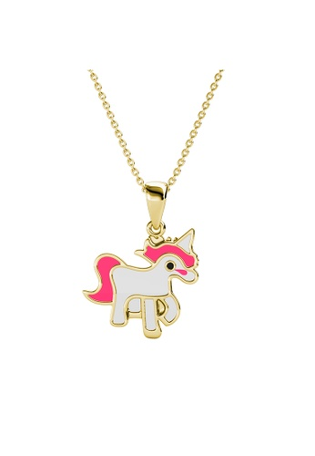 Her Jewellery gold Pinky Unicorn Pendant (Yellow Gold) - Made with Premium grade crystals from Austria 296E5AC953AA01GS_1