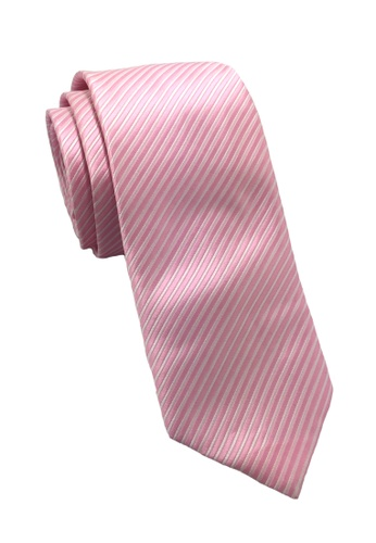 Splice Cufflinks Regalia Series Pale Pink Stripes Polyester Fabric Tie SP744AC52QNRSG_1