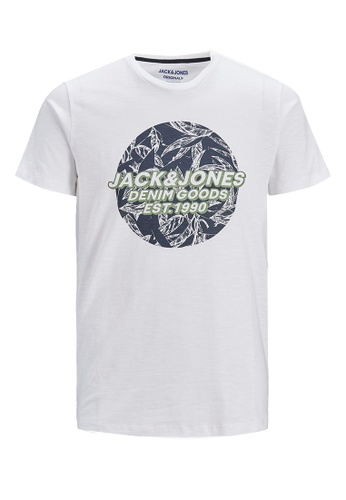 Jack & Jones white Lefo Placement Crew Neck Tee 1631DKA0A2F355GS_1
