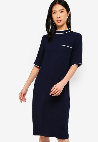 ZALORA BASICS navy Basic Jersey Oversized Contrast Dress 20B73AA3808625GS_1